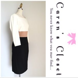 Kay Unger Cream Color Block Blk Knit Sheath Dress